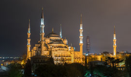 Blue Mosque in Istanbul at night Royalty Free Stock Image