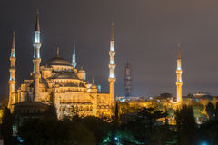 Blue Mosque in Istanbul at night Royalty Free Stock Photos