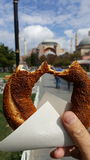 Blue mosque istanbul. Simit, Blue mosque, istanbul, sky, eat Royalty Free Stock Image