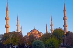 Blue mosque in istanbul, on the sunset. stock images