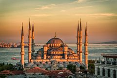 Blue mosque in Istanbul - sunset Stock Photography