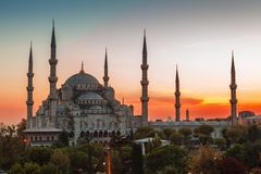 Blue Mosque in Istanbul, with sunset. Blue Mosque in Istanbul, with lantern light on blue sky background at sunset stock image