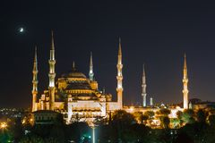 Blue Mosque in Istanbul, with sunset Royalty Free Stock Photography