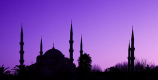 Blue Mosque in Istanbul, Turkey. Beautiful silhouette of the Blue Mosque on blue-violet sky background. Istanbul, Turkey Stock Photography