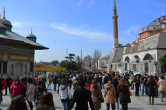 People going to Blue Mosque in Istanbul, Turkey Stock Image