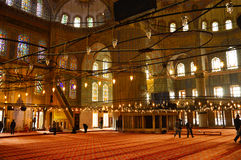 Inside the Blue Mosque in Istanbul, Turkey Royalty Free Stock Image