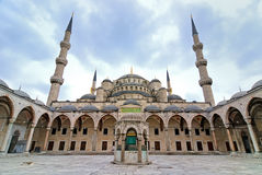 Blue Mosque, istanbul, turkey. Wide angle view from backyard of the famous Istanbul landmark Stock Images