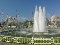 Blue mosque, Istanbul, Turkey. Blue mosque in Sultanahmet and fountain with water in Istanbul, Turkey Stock Photos