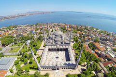 Blue Mosque in Istanbul, Turkey, Aerial. Sultanahmet Camii most famous as Blue Mosque in Istanbul, Turkey, Aerial Royalty Free Stock Image