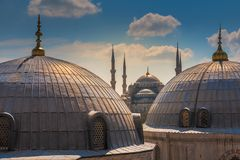 Blue mosque at Istanbul, Turkey. The biggest mosque in Istanbul of Sultan Ahmed. Ottoman Empire Stock Photography