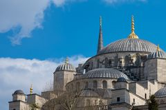 Blue mosque at Istanbul, Turkey. The biggest mosque in Istanbul of Sultan Ahmed. Ottoman Empire Royalty Free Stock Images
