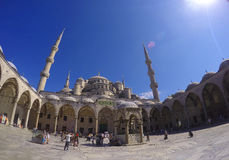The Blue Mosque in Istanbul, Turkey. Fisheye wide-angle panorama Stock Photos