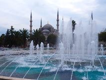 Blue Mosque, Istanbul, Turkey. The Blue Mosque from the fountain in the square in Istanbul, Turkey Stock Images