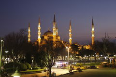 Blue Mosque Istanbul view by night royalty free stock photo