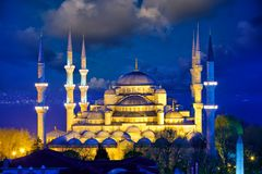 Blue Mosque in Istanbul. View of Blue Mosque or Sultanahmet Camii at dusk, Istanbul, Turkey stock photography