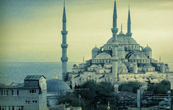 The Blue Mosque in Istanbul. Vintage photo Stock Photography