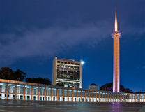 Blue mosque jakarta. At night stock photo