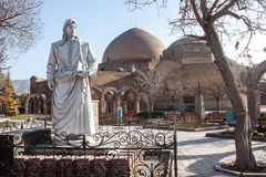 Blue mosque and Khaqani poet statue. Tabriz, Iran stock photography