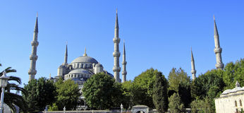 Blue Mosque Minarets, Istanbul, Turkey. The minarets of the Sultan Ahmed Mosque, more popularly known as the Blue Mosque, stand against the clear blue skies of Stock Photography