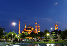 Blue Mosque with moon - Istanbul Royalty Free Stock Photography