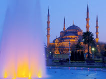 Blue Mosque at night. Blue mosque iluminated with an iluminated fountain at night in Istanbul,Turkey,HDR image Stock Image