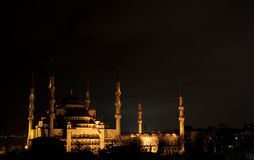 Blue Mosque At Night. The Blue mosque is a historical mosque in Istanbul, the largest city in Turkey and the capital of the Ottoman Empire (from 1453 to 1923) Royalty Free Stock Photos