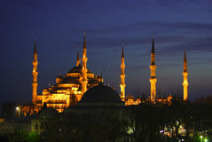 Blue Mosque at night. The Sultan Ahmed Mosque (Turkish: Sultanahmet Camii) is a historical mosque in Istanbul, the largest city in Turkey and the capital of the Stock Image