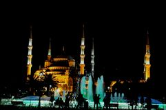 Blue Mosque at night royalty free stock photography