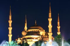 Blue Mosque on night in Istanbul Royalty Free Stock Image