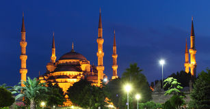 Blue Mosque at night in Istanbul Royalty Free Stock Photography