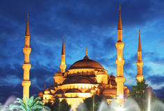 Blue Mosque at night in Istanbul - Turkey Royalty Free Stock Photos
