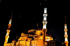 Blue Mosque at night stock images