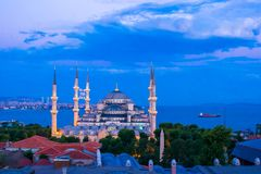 Blue Mosque at night in Istanbul, Turkey Stock Image