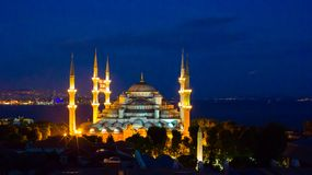 Blue Mosque at night in Istanbul, Turkey, Stock Photos
