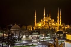 The Blue Mosque at night Stock Photos