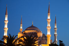 Blue Mosque at night Stock Photos