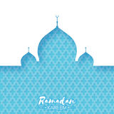 Blue Mosque. Origami Ramadan Kareem Greeting card. With arabic arabesque pattern. Holy month of muslim. Space for text. Vector illustration Stock Image
