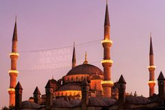 Blue Mosque in Ramadan Month Royalty Free Stock Photo