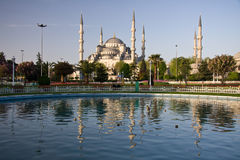 Blue Mosque Reflection. Reflection of the Blue Mosque in a blue reflecting pool in the early morning royalty free stock image