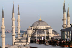 Blue mosque and restaurant Stock Photos