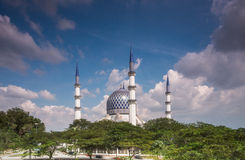 Blue Mosque of Shah Alam on a sunny day Royalty Free Stock Images