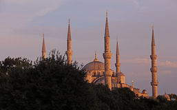Blue Mosque Skyline at Dusk. The skyline of the Blue Mosque, shot at dusk.  Located in Istanbul, Turkey.  It was completed in 1616 by Sultan Ahmed I Stock Photos