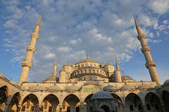 Blue Mosque Straight On. The Blue Mosque, shot from the courtyard.  Located in Istanbul, Turkey.  It was completed in 1616 by Sultan Ahmed I Royalty Free Stock Photography