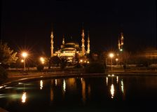 Blue mosque (Sultan Ahmed Camii) at night in Istanbul, Turkey (made from 3 vertical pictures) Royalty Free Stock Images