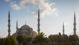 The Blue Mosque Sultan Ahmet Camii. In Istanbul, Turkey around sunset Royalty Free Stock Photography