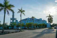 Blue mosque of Sultan Ismail Mosque located in Muar, Johor, Malaysia. The architecture is heavily influences of Western style and stock photo