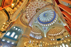 Blue Mosque (Sultanahmet). Interior of the Blue Mosque (Sultanahmet Mosque) in Istanbul, Turkey Royalty Free Stock Photos