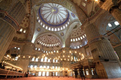 Blue Mosque (Sultanahmet). Interior of the Blue Mosque (Sultanahmet Mosque) in Istanbul, Turkey Royalty Free Stock Images