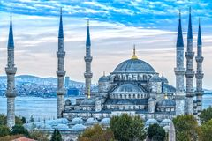 The Blue Mosque, Sultanahmet Camii, Istanbul, Turkey. The Blue Mosque, Sultanahmet Camii at dusk, Istanbul, Turkey stock photography