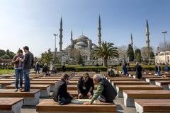 The Blue Mosque in the Sultanahmet district of Istanbul in Turkey. Royalty Free Stock Photo